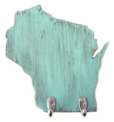 key hook coat rack wood organizer wall decor Wisconsin Light Turquoise. $42.00, via Etsy.