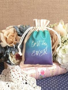 Personalized Best Day Ever Bag Bachelorette, Wedding, Bridal Shower, Birthday, Party Favor Goodie Pouch-Drawstring Cotton Muslin by SpanishVelvet on Etsy