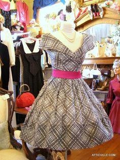 1954 Cotton collectable Suzy Perette party dress. Mint condition at The Attic Vintage Clothing & Atticville.com.