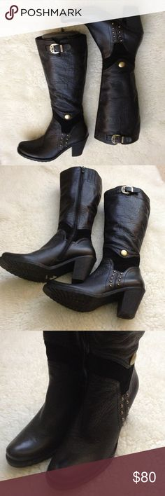 """ST & SAT black leather tall boots Nice leather boots in good condition with zip sides, gold tone side decor designs, 3 .25"""" heels, 17.25"""" tall, 15"""" circumference faux fur lining ST & SAT Shoes Heeled Boots"""