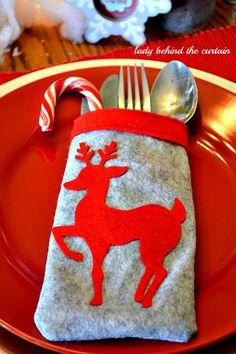 Porta talheres e enfeite natalino