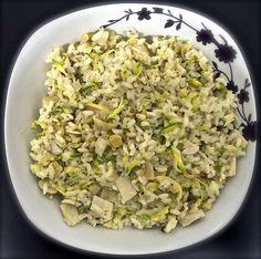 Receita light de risoto vegetariano (palmito, champignon e abobrinha).