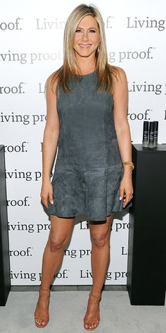 MAY 9, 2013 Jennifer Aniston launched the Living Proof web series in a drop-waist suede gray shift and ankle-strap sandals.
