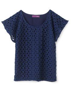 Aqua Girls' Crochet Front Dolman Sleeve Top - Sizes S-XL | Bloomingdale's