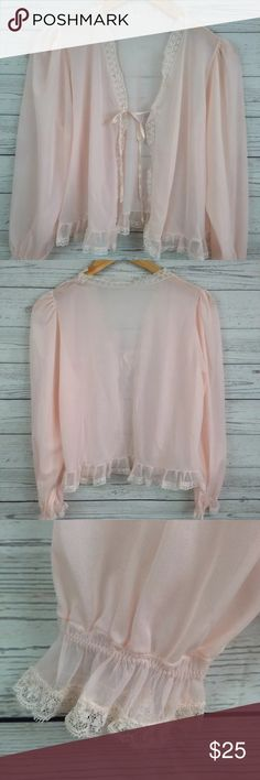 """Vtg Pastel pink bed jacket Fairy Kei NG66 measurements when flat:  ~Bust (armpit to armpit) 21""""  ~length (shoulder down side) 20""""   size   medium  please use the measurements provided!   vintage sizes differ from today's sizes!    Condition / Flaws:  No label. There is a split in the Lace at the neckline see photo  It is a vintage item, please allow for imperfections.   PLEASE CONTACT ME with any questions or concerns   before or after a purchase!   i am here to help! :)   I usually ship…"""