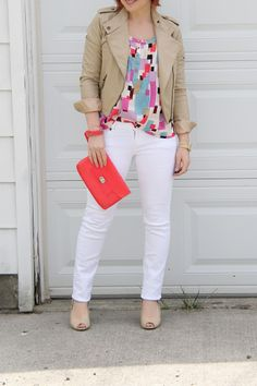 Thrift and Shout blog: Cute Outfit of the Day, Kaleidoscope, Target, Goodwill, faux leather, white pants, white jeans, graphic print, studded, nude heels, thrift, motorcycle jacket, pop of color, red hair, Forever 21, T.J. Maxx, Old Navy clutch