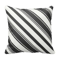 Black and White Diagonal Stripes Throw Pillow ............This design features a Black and White Diagonal Stripes pattern. Check out my store for more pillows with different colors. This design/color is also available on other products.