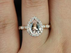 Rosados Box Sydney Rose Gold Pear Morganite and Diamonds Halo and ...