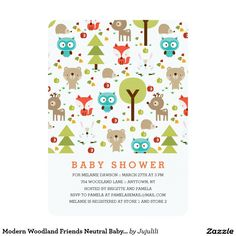 Modern woodland animal friends baby shower invitations. Cute design pattern features a little fox, owl, reindeer, brown bear, bunny, hedgehog and forest trees.