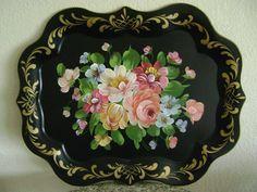 Stunning Antique Vintage Hand Painted Floral Toleware Folk Art Serving Tray | eBay  sold   150.00.      ~♥~