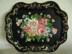 Stunning Antique Vintage Hand Painted Floral Toleware Folk Art Serving Tray | eBay  sold   150.00.      ~♥~