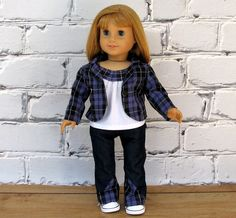 Lightweight Plaid Blazer Sorrento Top Jeans  by SewFunDollClothes