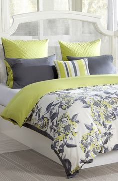Absolutely loving this charcoal grey + chartreuse color palette. And that gorgeous floral motif!