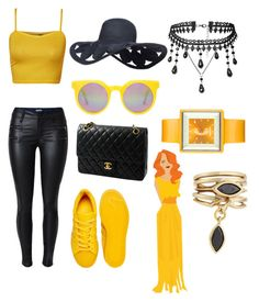"""black&yellow"" by amra-husejnovic ❤ liked on Polyvore featuring WearAll, adidas, Chanel, Quay, Appetime, Eddie Borgo, yellow, black and polyvorefashion"