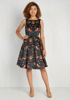 Partridge in a Flair Tree Dress. Clad in the bold color cascade of this corduroy Coconinno by Eva Franco frock, you give the gift of gorgeous style to any fete you attend! #multi #modcloth