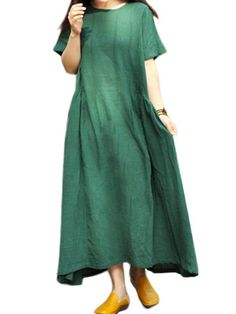 Loose Women Solid O-Neck Short Sleeve High Low Linen Dress