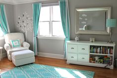 turquoise white and grey nursery for girls - Love the family tree! and area rug