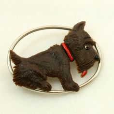 Art Deco Celluloid Scottie Dog Brooch Vintage Airdale by mybooms