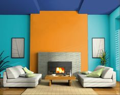 The split-complementary color harmony used in this room can come across very harsh on the eye. Because each of the colors used has such an intense chroma, it makes them look a little odd together. Split Complementary Color Scheme, Complimentary Colors, Bright Colors, Interior Color Schemes, Blue Color Schemes, Room Colors, House Colors, Interior And Exterior, Interior Design