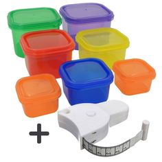 Joy of Kitchen Portion Control Containers 7 pcs + Body Measuring Tape, Reusable Meal Prep Containers with Lids, Compatible with Fix, Best for Diet and Other Uses, Multipurpose Colorful Boxes Portion Control Diet, Portion Control Containers, Meal Prep Containers, Food Storage Containers, 21 Day Fix Menu, 21 Day Fix Diet, Fixate Cookbook, Protein, Food Portions