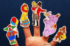 Circus Finger Puppets: Make these easy circus finger puppets for your circus-themed finger plays, story reading, and other circus-themed activities like a birthday party. http://www.firstpalette.com/Craft_themes/People/circusfingerpuppets/circusfingerpuppets.html#