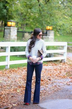 sweater+with+plaid+underneath,+flared+jeans,+fall+outfit+ideas+2014.jpg 1,051×1,600 pixels