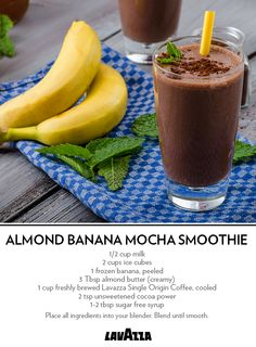 Smooth almond butter and a fresh banana combine their natural creaminess in this coffee summer shake. Cool down after your next workout with this refreshing recipe. Mocha Smoothie, Espresso Coffee Machine, Sugar Free Syrup, Unsweetened Cocoa, Frozen Banana, Frozen Treats, Almond Butter, Coffee Drinks, Smoothies