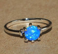 blue fire opal ring gemstone silver jewelry Sz 7.25 modern petite engagement Z