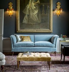 The Marlborough sofa with the Hamilton and Wellesley chairs and the Brummel footstool. The perfect setting for a pre-dinner G&T. Footstool Coffee Table, Coffee Tables, Dark Walls, English Style, Living Room Modern, Living Rooms, Small Living, Cushions On Sofa, Couch