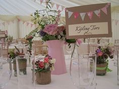 Wedding, jam jars, shabby chic, table decoration,pink and green ribbons
