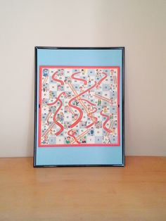 Vintage Framed Board Game - Chutes and Ladders by theindustrycottage on Etsy