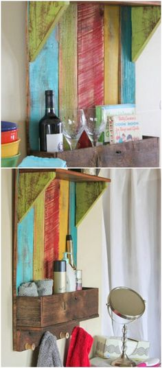 Looking for the perfect DIY project to transform your home this summer? One of the biggest trends in home décor right now is upcycling reclaimed wood. You can search for wood and reclaim it yourself Repurposed Furniture, Cool Furniture, Furniture Design, Bathroom Colors, Colorful Bathroom, Bathroom Ideas, Wooden Crafts, Diy Crafts, Reclaimed Wood Projects
