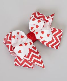 Take a look at this Red & White Zigzag Heart Bow Clip by Picture Perfect Hair Bows on #zulily today!