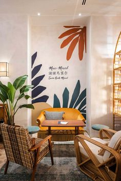Merci Marcel: A Parisian Cafe in Singapore – Trendland Online Magazine Curating the Web since 2006 Wall Painting Decor, Mural Wall Art, Wall Decor, Wall Painting Living Room, Cafe Design, House Design, Parisian Cafe, Style Deco, Diy Home Decor