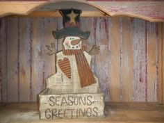 Primitive Distressed Snowman Seasons Greeting Box w/Pine Cones #5801