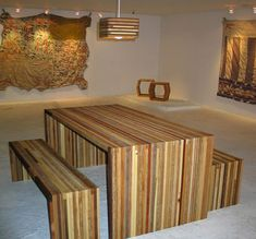 Really beautiful recycled wood table and benches Funky Furniture, Solid Wood Furniture, Upcycled Furniture, Quality Furniture, Decor Interior Design, Interior Decorating, Decorating Ideas, Reclaimed Lumber, Recycled Wood