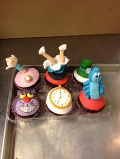 Alice in Wonderland cupcake toppers  #alice #wonderland #cupcake #topper #custom #caterpillar #tea #mad #hatter #hat #chesire #cat #late #clock