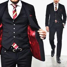 Euro Extra Slim Cut Black 3pc Wool Suit