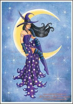 Esther Remmington : Artists : Home : Pagan/spiritual and fairy/fantasy greeting cards, prints and gifts at Moondragon Fantasy Witch, Witch Art, Fantasy Art, Halloween Pictures, Halloween Art, Halloween Witches, Beltane, Witch Pictures, Witch Tattoo