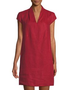 Neiman Marcus Linen Cap-sleeve Sheath Dress In Red Red Fashion, Fashion Dresses, Simple Dresses, Casual Dresses, Linen Dress Pattern, White Linen Dresses, Sheath Dress, Cap Sleeves, Neiman Marcus