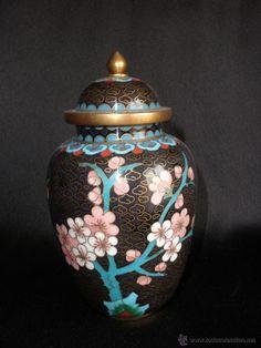 Precioso jarrón tibor chino en cloisonne