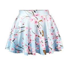 Japanese harajuku sweet plum flower print skirts