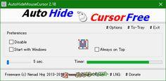 AutoHideMouseCursor 2.18  AutoHideMouseCursor--起動時の画面--オールフリーソフト