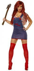 Chucky and Tiffany Halloween costumes. Do you need the perfect idea for a couples Halloween costume set? How about Chucky and Tiffany Halloween costumes? Sexy Adult Costumes, Costume Sexy, Sexy Halloween Costumes, Halloween Fancy Dress, Costumes For Women, Halloween Shoes, Halloween Jewelry, Chucky Fancy Dress, Halloween Makeup