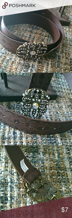 Brown belt with flowers jewel buckle Removable flower buckle on brown belt No Boundaries Accessories Belts
