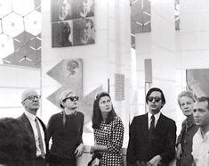 John de Menil, Andy Warhol, Simone Swan, Fred Hughes, Dominique de Menil and Howard Barnstone in Buckminster Fuller's geodesic dome for Expo 67, Montreal, 1967; credit: The Menil Archives