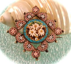 Victorian Micro Mosaic Jewelry | Antique MICRO MOSAIC PIN Victorian Era Italian Mini Micro Mosaic Gold ...