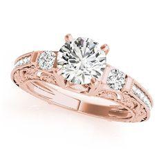 Transcendent Brilliance 14k Gold 7/8ct TDW White Diamond Antique Style Engagement Ring (F-G, VS1-VS2) (Rose - Size 5), Women's