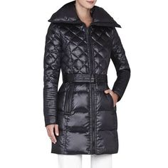 ❤️ BCBGMaxAzria Lauren coat ❤️ Amazing medium belted down jacket in black with quilted pattern and great little details. Large collar and belt adds a sexy feel. NWT BCBGMaxAzria Jackets & Coats Puffers