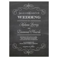 fancy chalkboard #wedding invitation / on Toby Designs